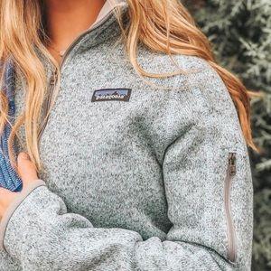 Patagonia birch white gray full zip better sweater